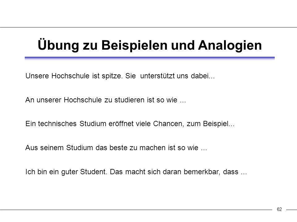 62 Übung zu Beispielen und Analogien Unsere Hochschule ist spitze.