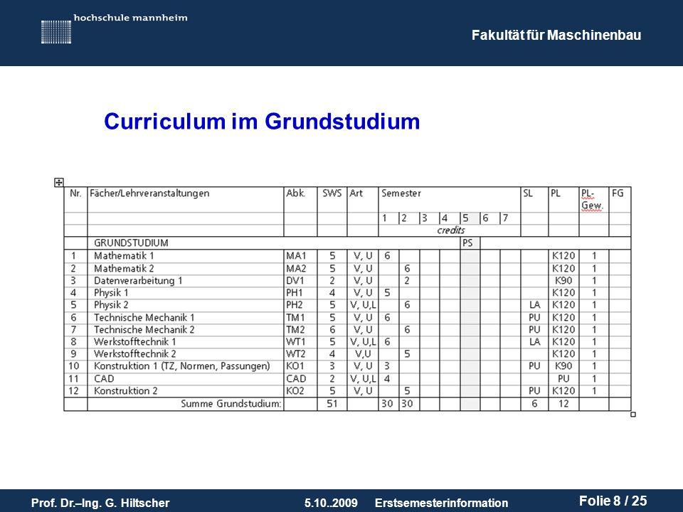 Fakultät für Maschinenbau Prof. Dr.–Ing. G. Hiltscher5.10..2009 Folie 8 / 25 Erstsemesterinformation Curriculum im Grundstudium