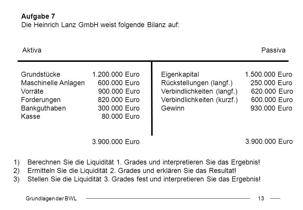 Grundlagen der BWL13 Eigenkapital 1.500.000 Euro Rückstellungen (langf.) 250.000 Euro Verbindlichkeiten (langf.) 620.000 Euro Verbindlichkeiten (kurzf.) 600.000 Euro Gewinn 930.000 Euro Grundstücke1.200.000 Euro Maschinelle Anlagen 600.000 Euro Vorräte 900.000 Euro Forderungen 820.000 Euro Bankguthaben 300.000 Euro Kasse 80.000 Euro 3.900.000 Euro Aktiva Passiva 3.900.000 Euro Aufgabe 7 Die Heinrich Lanz GmbH weist folgende Bilanz auf: 1)Berechnen Sie die Liquidität 1.