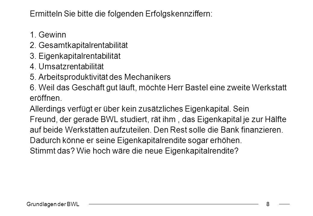 Grundlagen der BWL8 Ermitteln Sie bitte die folgenden Erfolgskennziffern: 1. Gewinn 2. Gesamtkapitalrentabilität 3. Eigenkapitalrentabilität 4. Umsatz