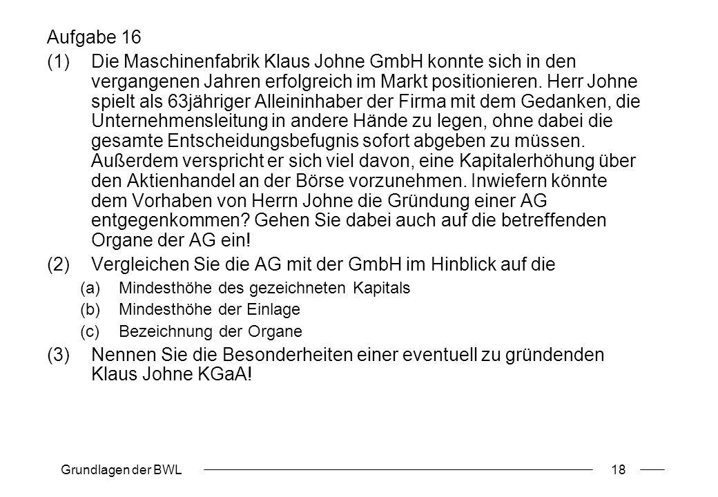 Grundlagen der BWL18 Aufgabe 16 (1)Die Maschinenfabrik Klaus Johne GmbH konnte sich in den vergangenen Jahren erfolgreich im Markt positionieren. Herr