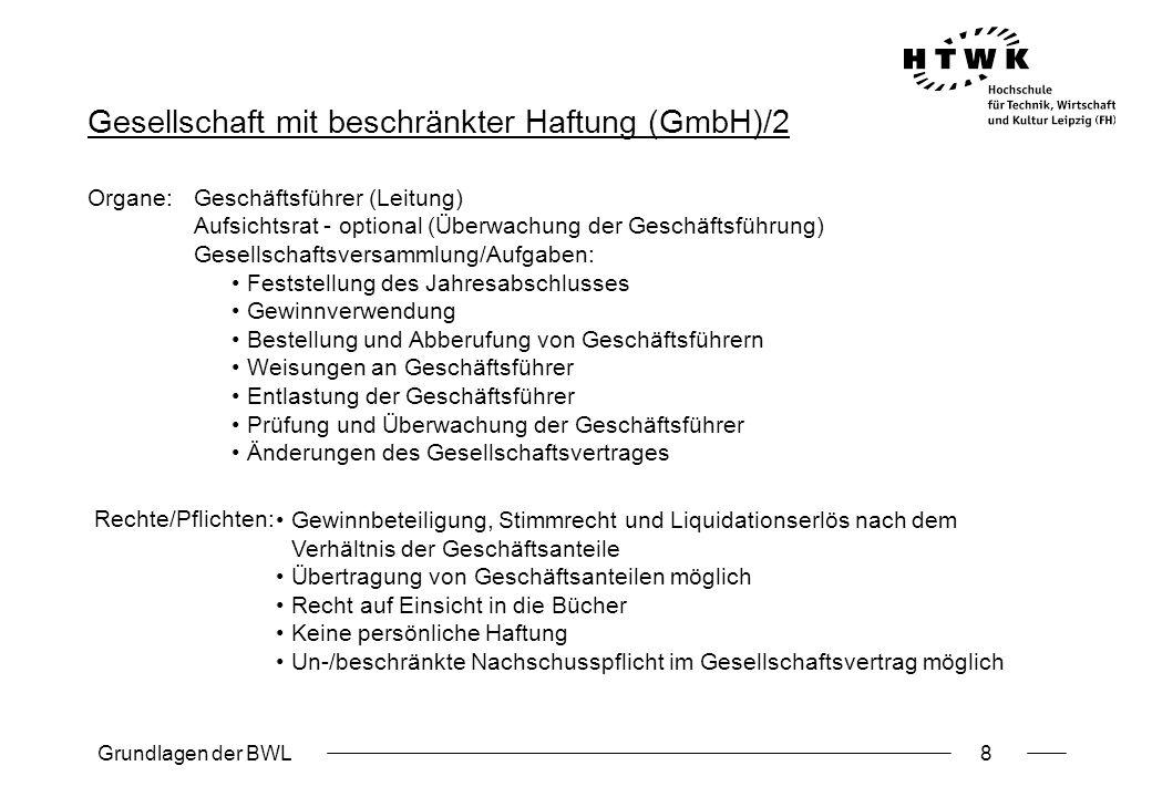 Grundlagen der BWL8 Gesellschaft mit beschränkter Haftung (GmbH)/2 Organe:Geschäftsführer (Leitung) Aufsichtsrat - optional (Überwachung der Geschäfts