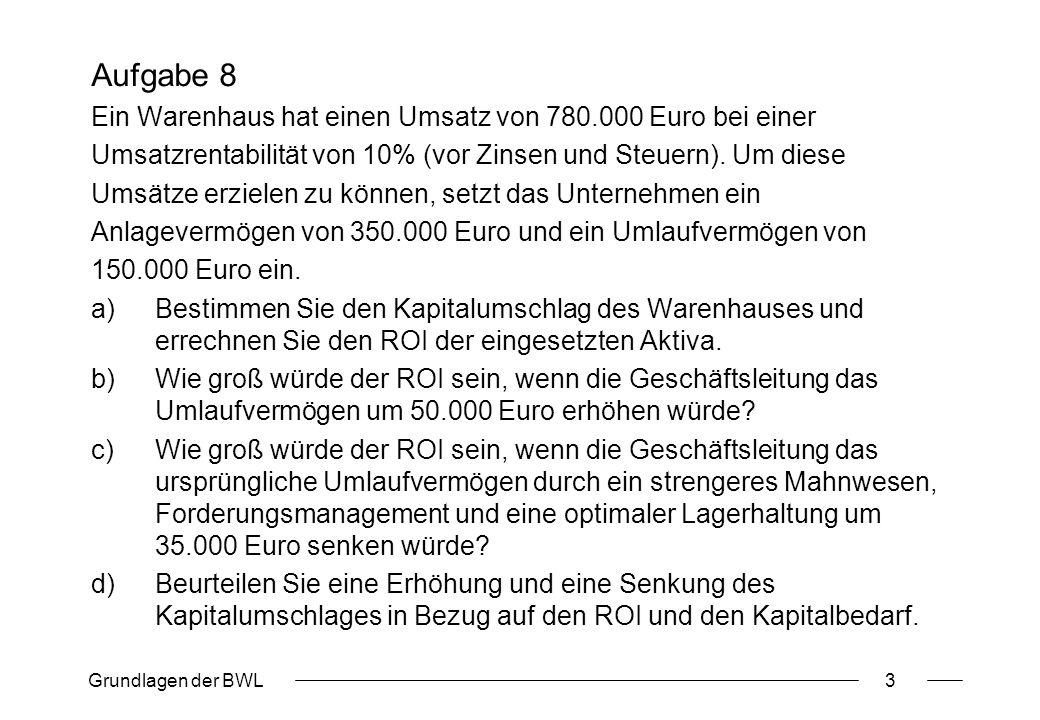 Grundlagen der BWL4 Aufgabe 9 Das Finanzmanagement der Berliner Inc.