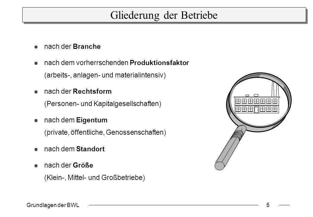Grundlagen der BWL5 Gliederung der Betriebe nach der Branche nach dem vorherrschenden Produktionsfaktor (arbeits-, anlagen- und materialintensiv) nach
