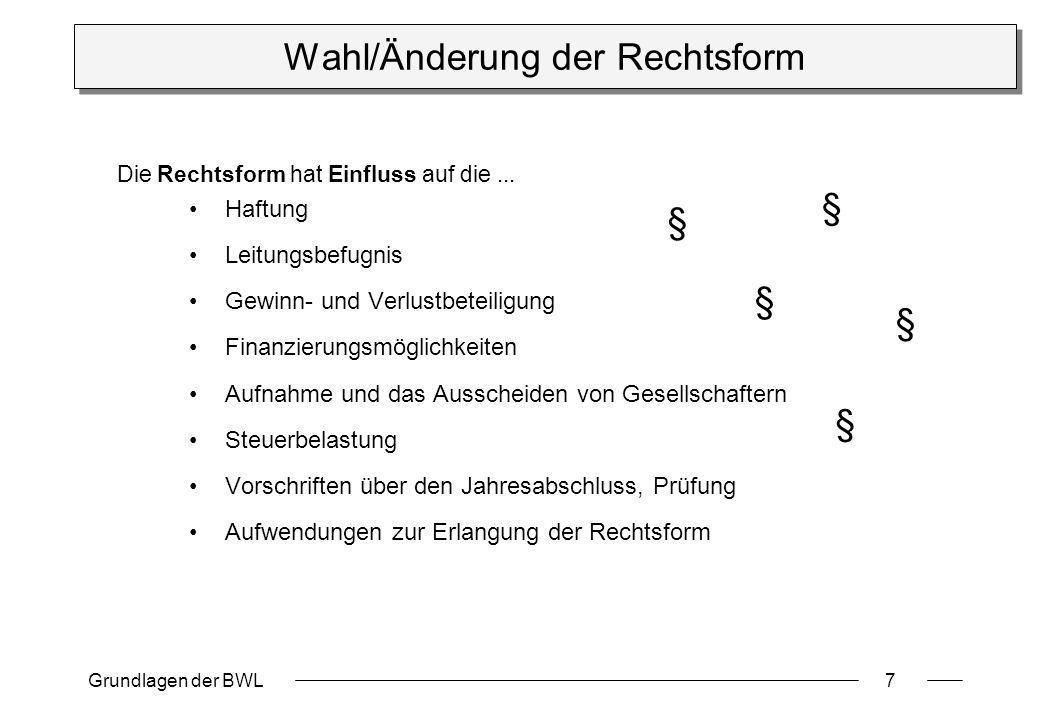 Grundlagen der BWL7 Wahl/Änderung der Rechtsform Haftung Leitungsbefugnis Gewinn- und Verlustbeteiligung Finanzierungsmöglichkeiten Aufnahme und das A