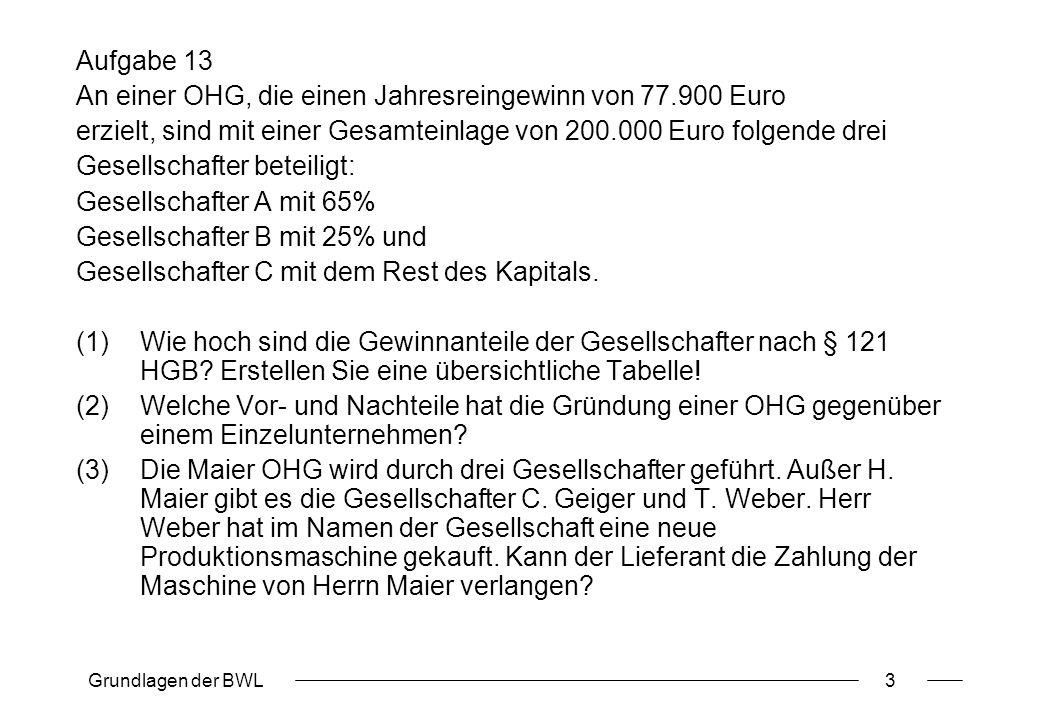 Grundlagen der BWL3 Aufgabe 13 An einer OHG, die einen Jahresreingewinn von 77.900 Euro erzielt, sind mit einer Gesamteinlage von 200.000 Euro folgend