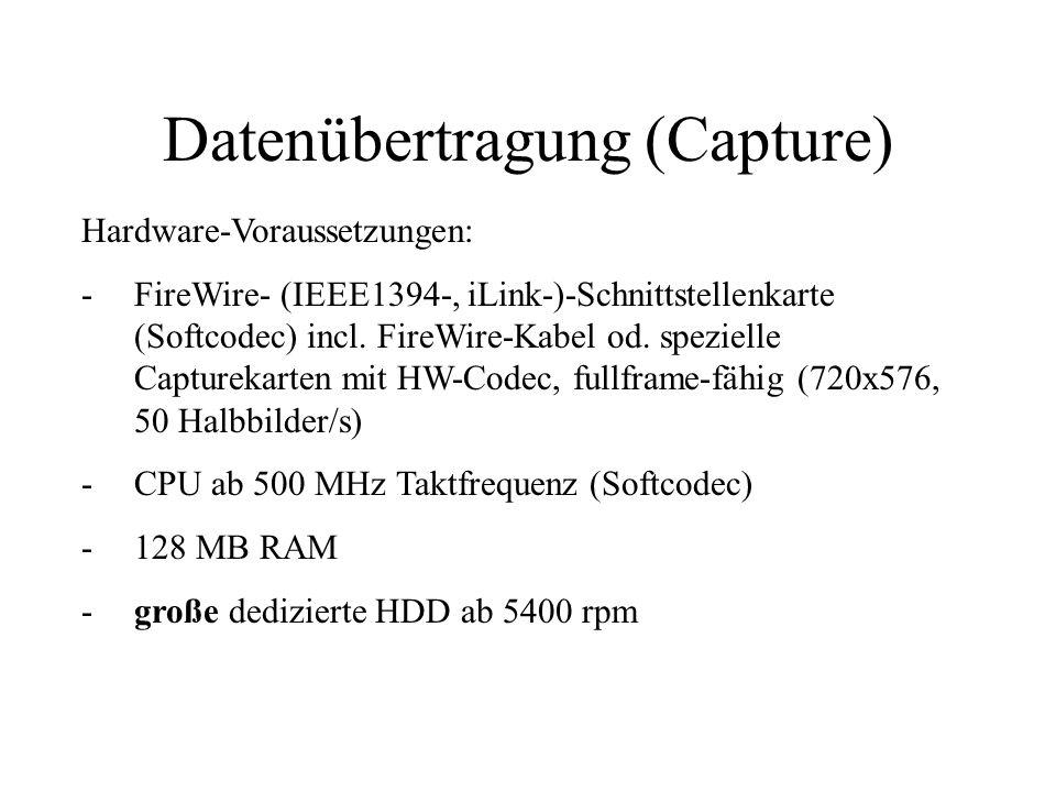Datenübertragung (Capture) Hardware-Voraussetzungen: -FireWire- (IEEE1394-, iLink-)-Schnittstellenkarte (Softcodec) incl. FireWire-Kabel od. spezielle