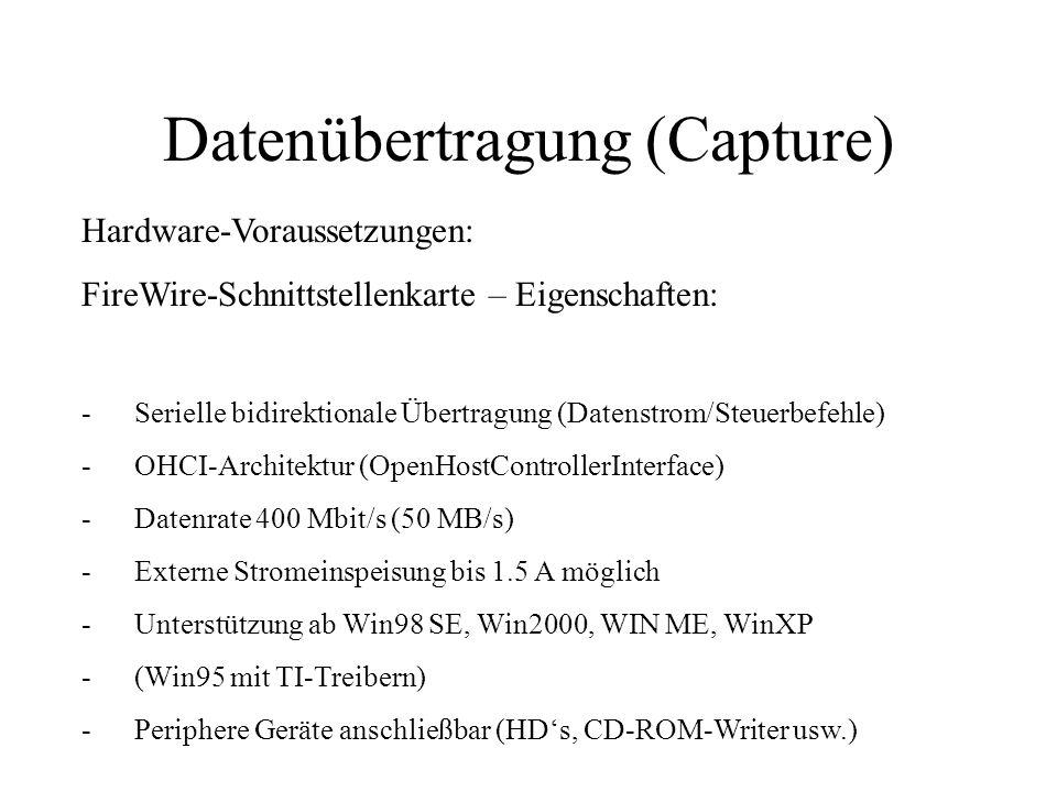 Datenübertragung (Capture) Hardware-Voraussetzungen: FireWire-Schnittstellenkarte – Eigenschaften: -Serielle bidirektionale Übertragung (Datenstrom/St