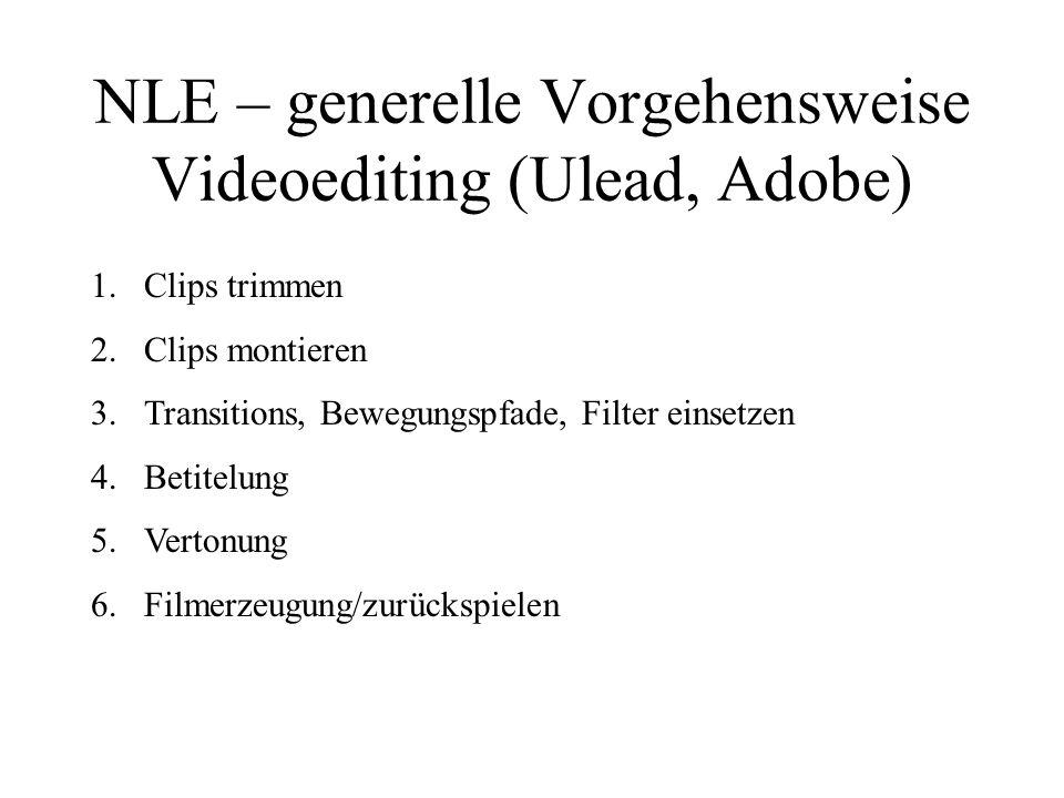 NLE – generelle Vorgehensweise Videoediting (Ulead, Adobe) 1.Clips trimmen 2.Clips montieren 3.Transitions, Bewegungspfade, Filter einsetzen 4.Betitel