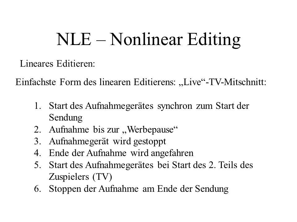 NLE – Nonlinear Editing nonlineares Editieren: Möglichkeit der Zuspielung und Bearbeitung von Video/Audio zeitlich unabhängig nachträgliches Einfügen von Clips/Bearbeitung des Videoprojektes jederzeit möglich Einfügen von medienfremden Clips (CG-Grafik, Animation, Flash) möglich umfangreiche Effektpalette (Transitions, Bewegungspfade, Bild-in-Bild-Effekte, Titeleffekte, Keying) Software-basiert:Adobe Premiere (z.Zt.