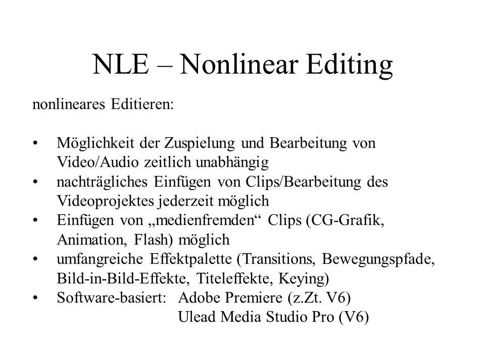 NLE – Nonlinear Editing nonlineares Editieren: Zuspieler (Video) Audiokomponente Computergrafik, Animation Capturing/Editing PC-Schnittsystem Formatkonvertierung PC-Schnitt- stellenkarte