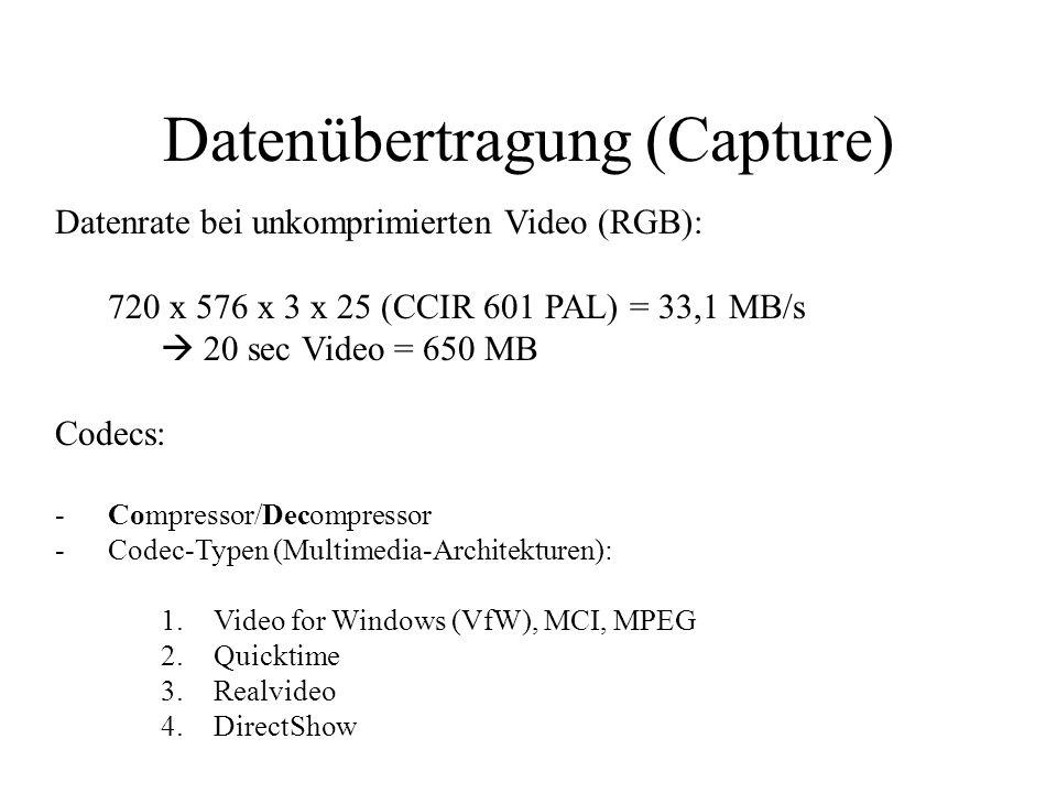 Datenübertragung (Capture) Datenrate bei unkomprimierten Video (RGB): 720 x 576 x 3 x 25 (CCIR 601 PAL) = 33,1 MB/s 20 sec Video = 650 MB Codecs: -Com