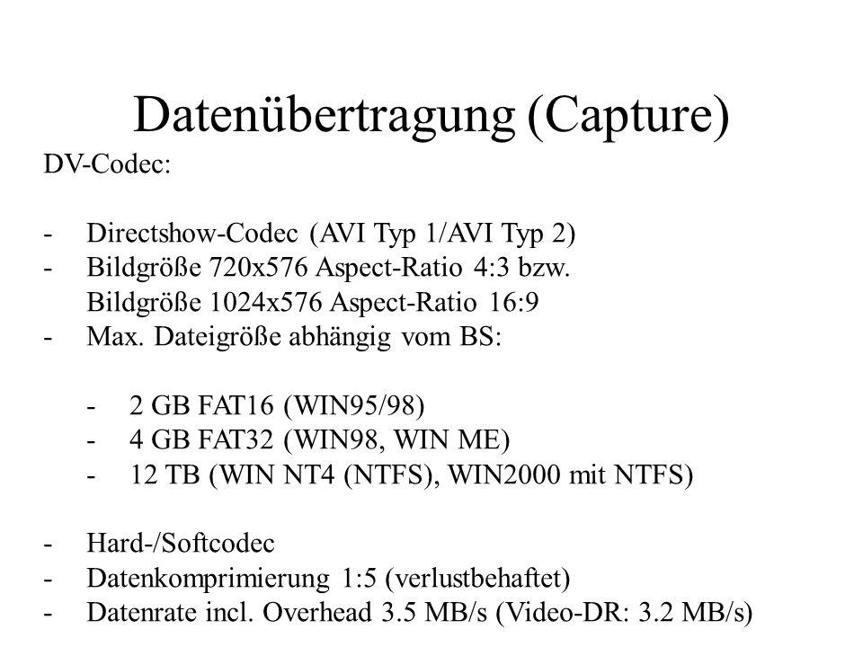 Datenübertragung (Capture) Digitalvideo (DV/D8) Schnittstellenkarte (OHCI) HDD CPU Capturing-/NLE-Software Soft-Codec DV-codiertes (komprimiertes) Signal Hardcodec Zuspieler/ Aufnahmegerät (DV-/D8-Camcorder)