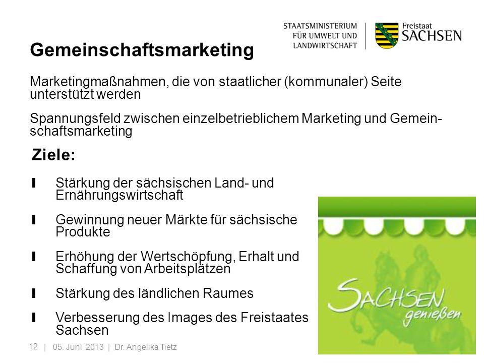 12 | 05. Juni 2013 | Dr. Angelika Tietz Gemeinschaftsmarketing Marketingmaßnahmen, die von staatlicher (kommunaler) Seite unterstützt werden Spannungs