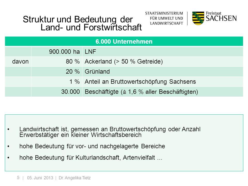 5 Struktur und Bedeutung der Land- und Forstwirtschaft | 05. Juni 2013 | Dr. Angelika Tietz 6.000 Unternehmen 900.000 haLNF davon80 %Ackerland (> 50 %
