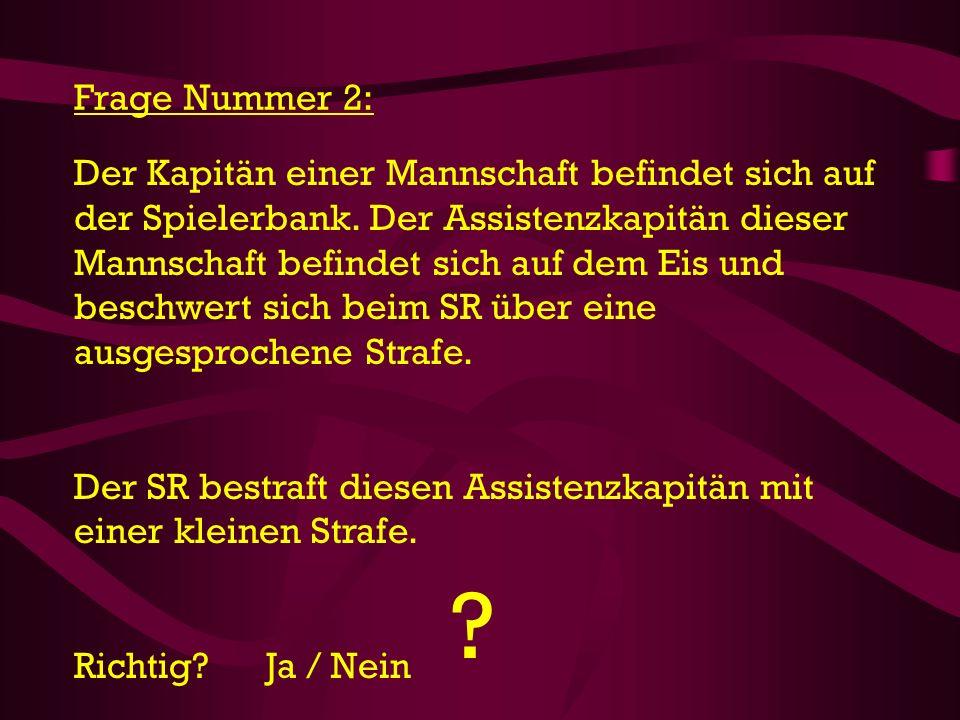Frage Nummer 43: Der SR bestraft je Team einen Spieler mit einer Matchstrafe für übertriebene Härte.