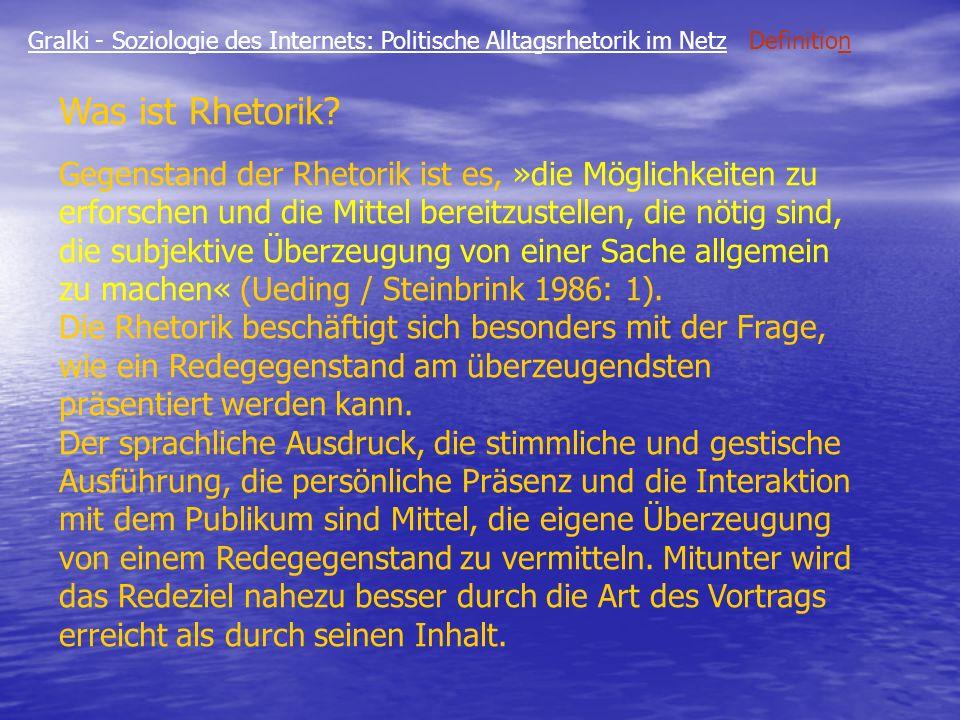 Gralki - Soziologie des Internets: Politische Alltagsrhetorik im Netz Fallacies Bsp.3 Glaube an die Mehrheitsmeinung Aus der Tatsache dass viele Menschen einen Sachverhalt glauben wird geschlossen, dass das Argument richtig sei Peter: Die meisten Menschen in Deutschland glauben, dass die politischen Parteien bestechlich seien.