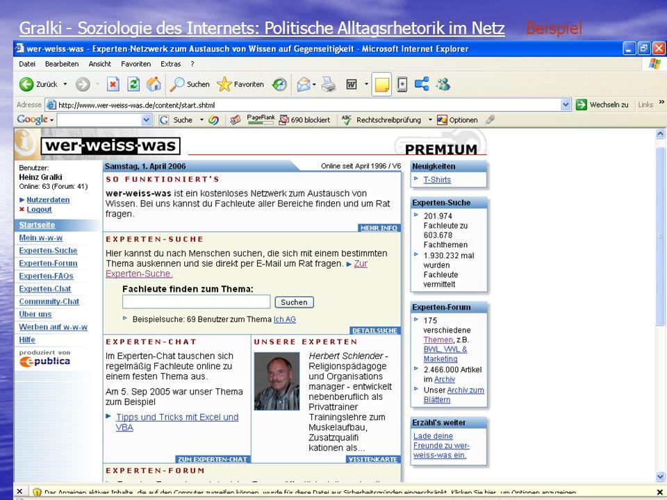 Gralki - Soziologie des Internets: Politische Alltagsrhetorik im Netz Beispiel