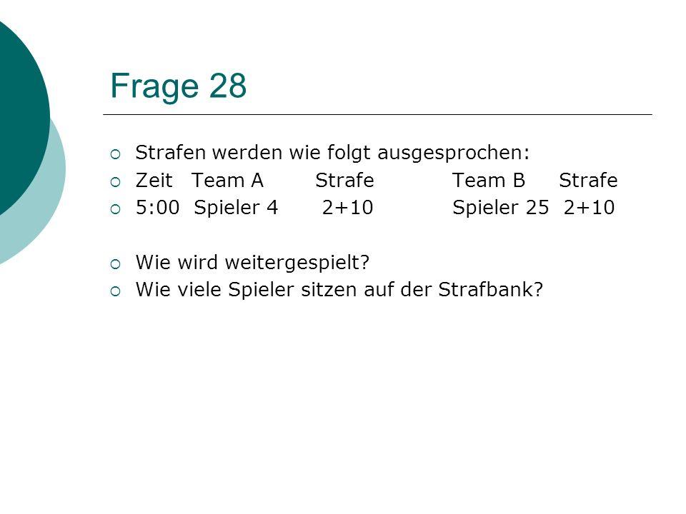 Frage 27 Mannschaft A hat den Torhüter als A-Kapitän im Spielbericht eingetragen. Der SR veranlasst, dass der TH nicht als A-Kapitän benannt wird. Ric
