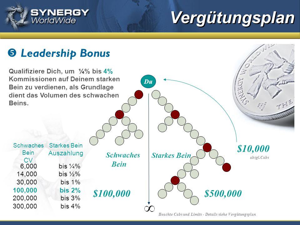 Leadership Bonus Qualifiziere Dich, um ¼ % bis 4% Kommissionen auf Deinem starken Bein zu verdienen, als Grundlage dient das Volumen des schwachen Beins.