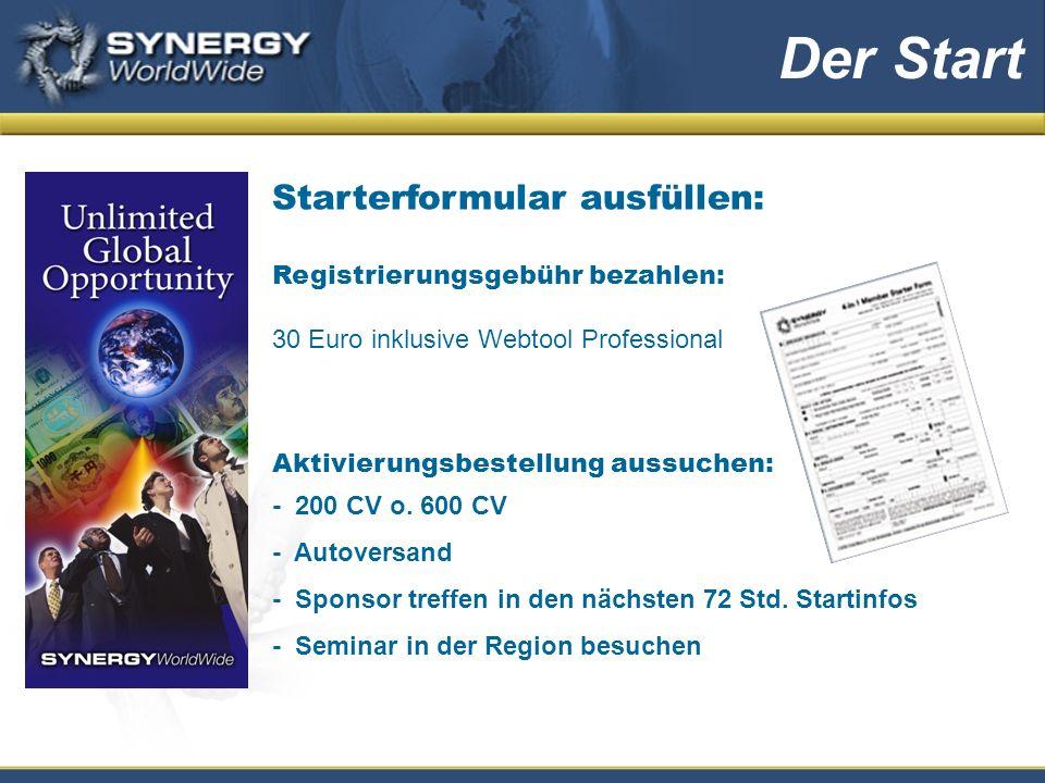 Starterformular ausfüllen: Registrierungsgebühr bezahlen: 30 Euro inklusive Webtool Professional Aktivierungsbestellung aussuchen: - 200 CV o.