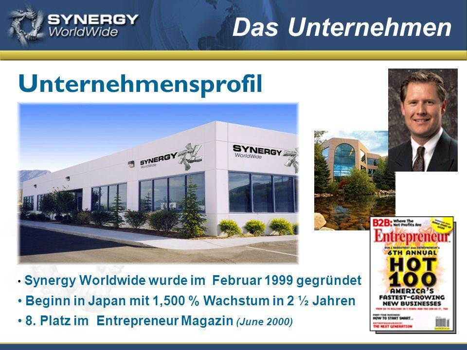 Synergy Worldwide wurde im Februar 1999 gegründet Beginn in Japan mit 1,500 % Wachstum in 2 ½ Jahren 8. Platz im Entrepreneur Magazin (June 2000) Unte
