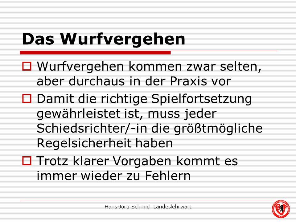 Hans-Jörg Schmid Landeslehrwart Das Wurfvergehen Wurfvergehen kommen zwar selten, aber durchaus in der Praxis vor Damit die richtige Spielfortsetzung