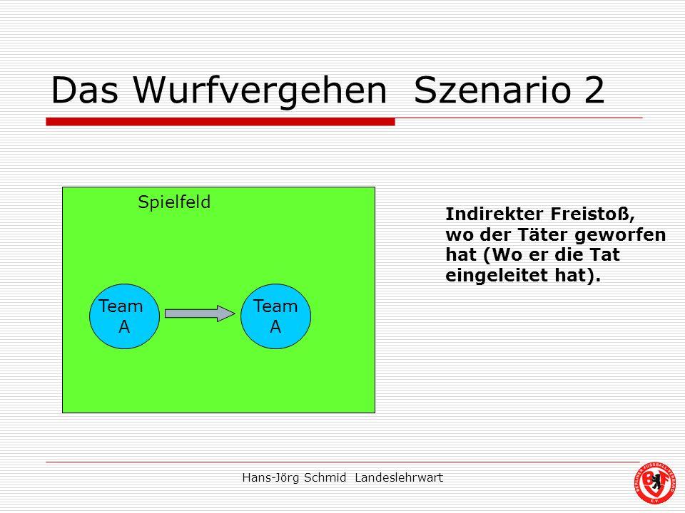Hans-Jörg Schmid Landeslehrwart Das Wurfvergehen Szenario 2 Team A Team A Indirekter Freistoß, wo der Täter geworfen hat (Wo er die Tat eingeleitet ha