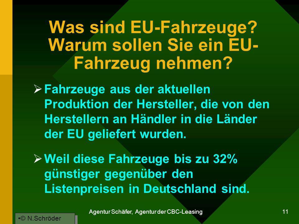 Agentur Schäfer, Agentur der CBC-Leasing 11 Was sind EU-Fahrzeuge? Warum sollen Sie ein EU- Fahrzeug nehmen? Fahrzeuge aus der aktuellen Produktion de