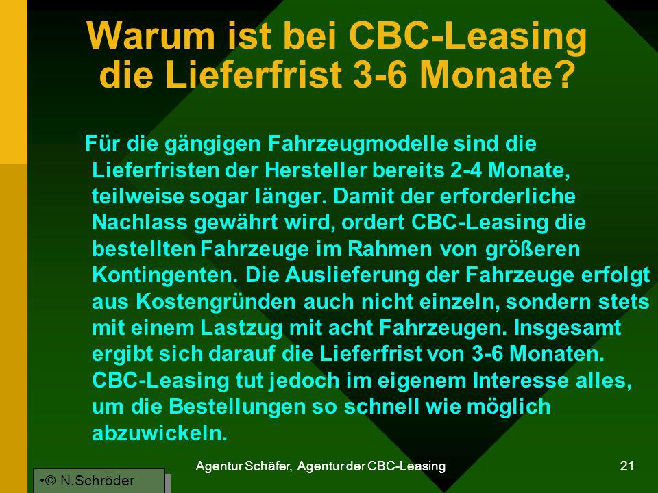 Agentur Schäfer, Agentur der CBC-Leasing 21 Warum ist bei CBC-Leasing die Lieferfrist 3-6 Monate? Für die gängigen Fahrzeugmodelle sind die Lieferfris