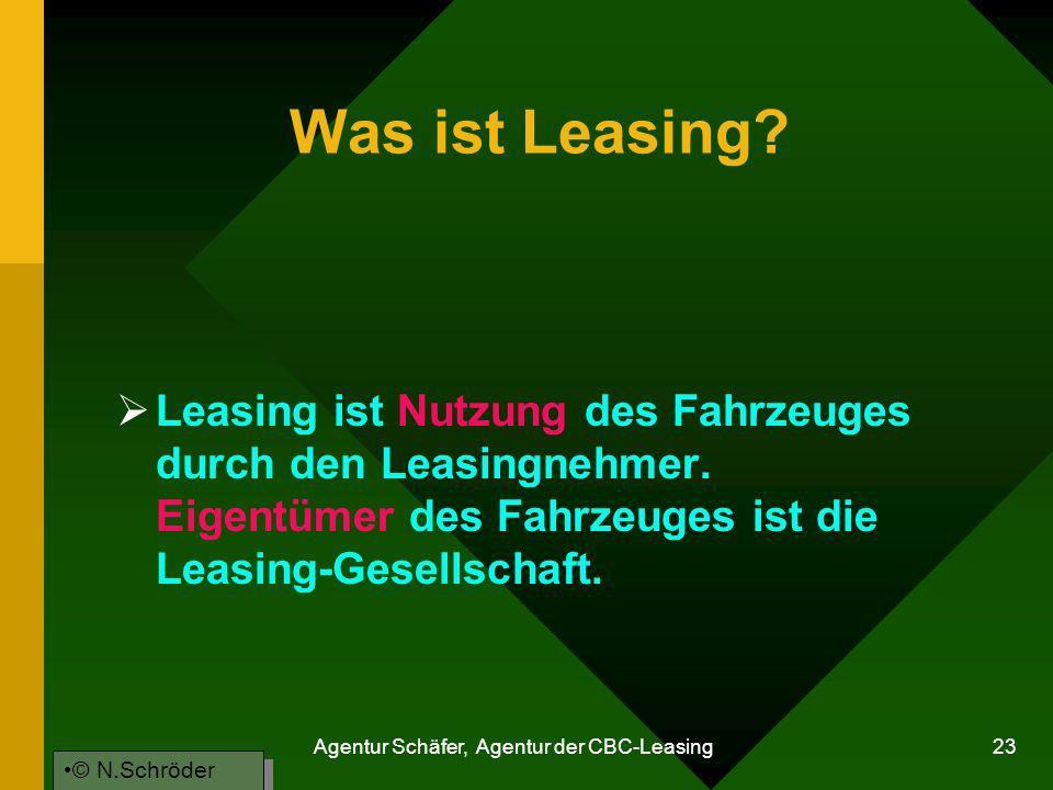 Agentur Schäfer, Agentur der CBC-Leasing 23 Was ist Leasing? Leasing ist Nutzung des Fahrzeuges durch den Leasingnehmer. Eigentümer des Fahrzeuges ist