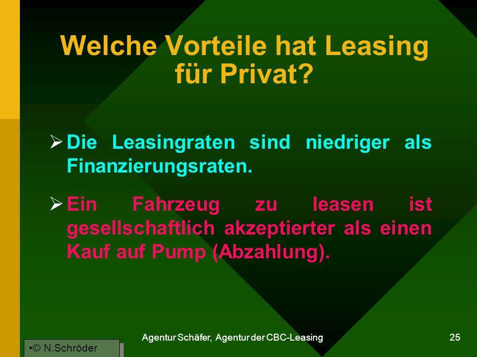 Agentur Schäfer, Agentur der CBC-Leasing 25 Welche Vorteile hat Leasing für Privat? Die Leasingraten sind niedriger als Finanzierungsraten. Ein Fahrze