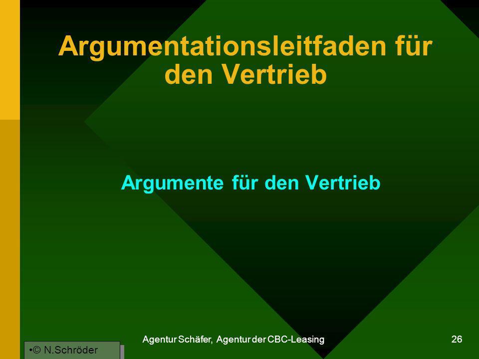 Agentur Schäfer, Agentur der CBC-Leasing 26 Argumentationsleitfaden für den Vertrieb Argumente für den Vertrieb © N.Schröder