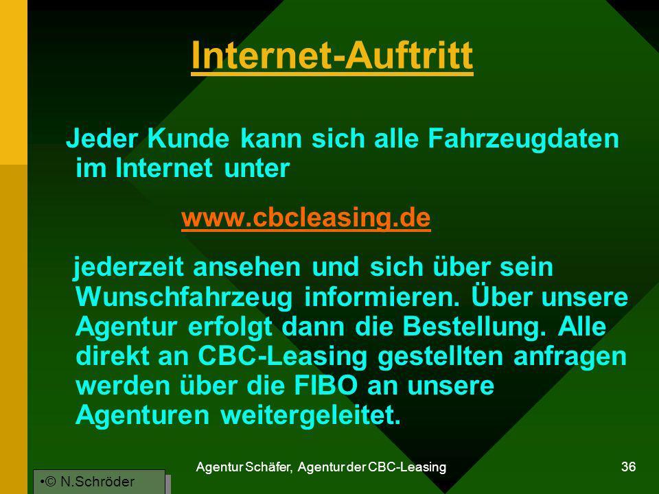 Agentur Schäfer, Agentur der CBC-Leasing 36 Internet-Auftritt Jeder Kunde kann sich alle Fahrzeugdaten im Internet unter www.cbcleasing.de jederzeit a