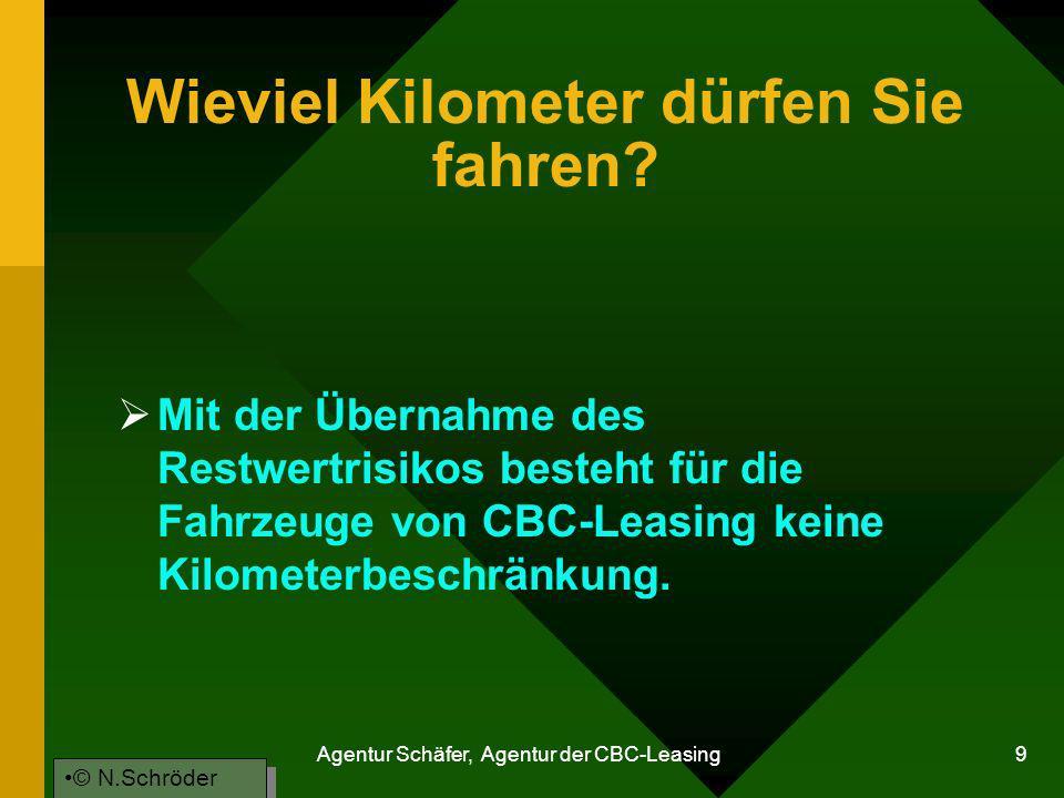 Agentur Schäfer, Agentur der CBC-Leasing 9 Wieviel Kilometer dürfen Sie fahren? Mit der Übernahme des Restwertrisikos besteht für die Fahrzeuge von CB