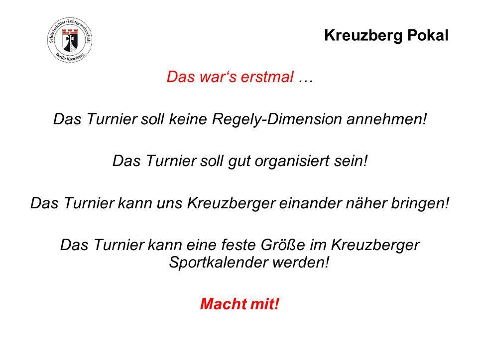 Kreuzberg Pokal Das wars erstmal … Das Turnier soll keine Regely-Dimension annehmen! Das Turnier soll gut organisiert sein! Das Turnier kann uns Kreuz