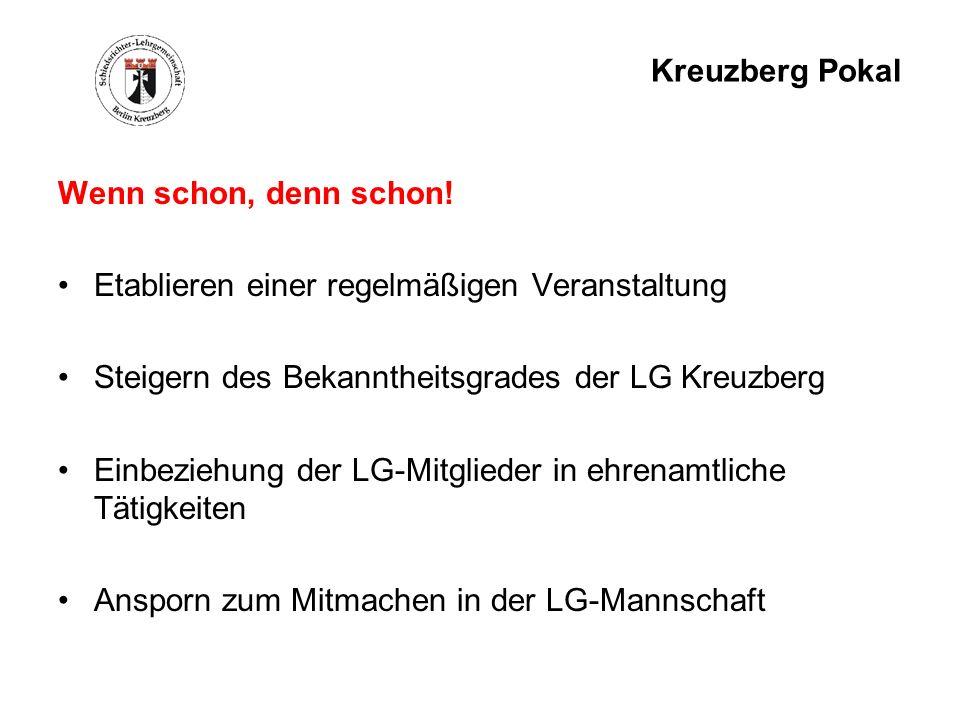 Kreuzberg Pokal Wenn schon, denn schon! Etablieren einer regelmäßigen Veranstaltung Steigern des Bekanntheitsgrades der LG Kreuzberg Einbeziehung der