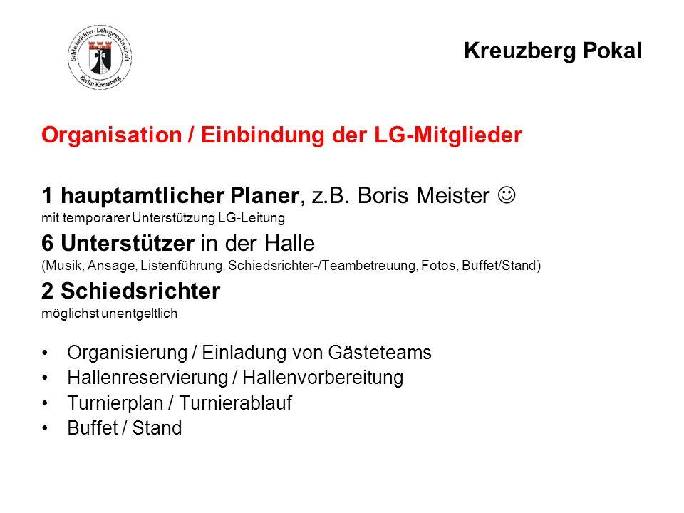 Kreuzberg Pokal Organisation / Einbindung der LG-Mitglieder 1 hauptamtlicher Planer, z.B. Boris Meister mit temporärer Unterstützung LG-Leitung 6 Unte