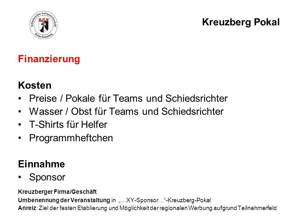 Kreuzberg Pokal Finanzierung Kosten Preise / Pokale für Teams und Schiedsrichter Wasser / Obst für Teams und Schiedsrichter T-Shirts für Helfer Progra