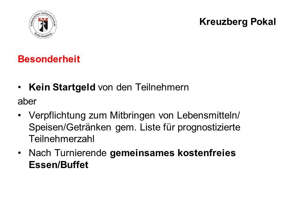 Kreuzberg Pokal Besonderheit Kein Startgeld von den Teilnehmern aber Verpflichtung zum Mitbringen von Lebensmitteln/ Speisen/Getränken gem. Liste für