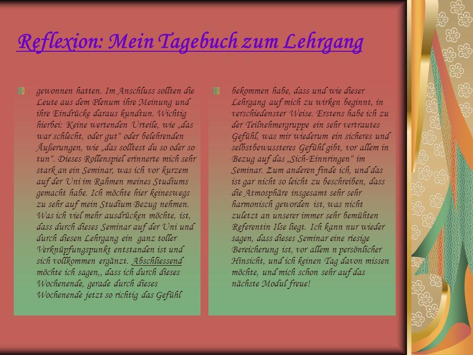 Reflexion: Mein Tagebuch zum Lehrgang gewonnen hatten. Im Anschluss sollten die Leute aus dem Plenum ihre Meinung und ihre Eindrücke daraus kundtun. W