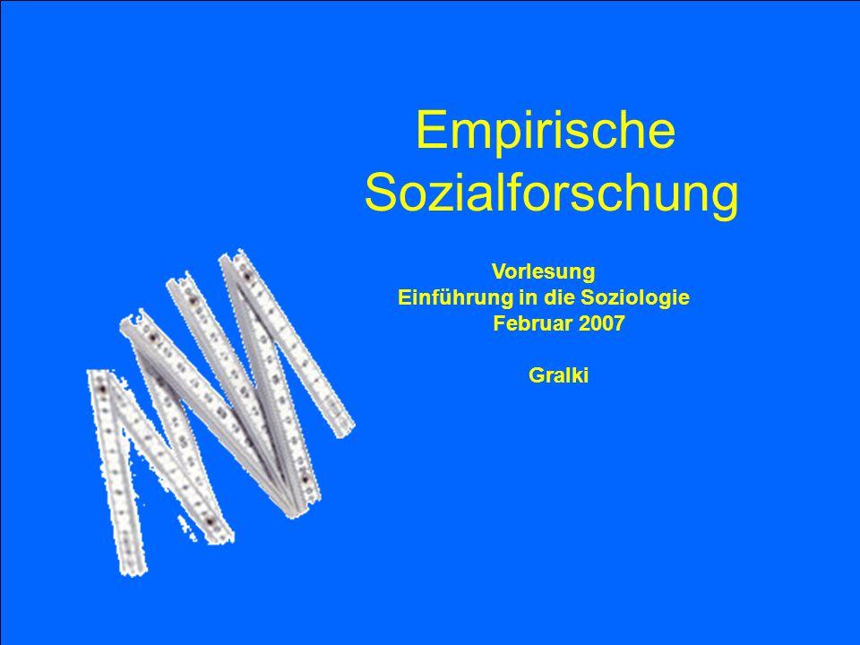 Vorlesung Einführung in die Soziologie Februar 2007 Gralki Empirische Sozialforschung