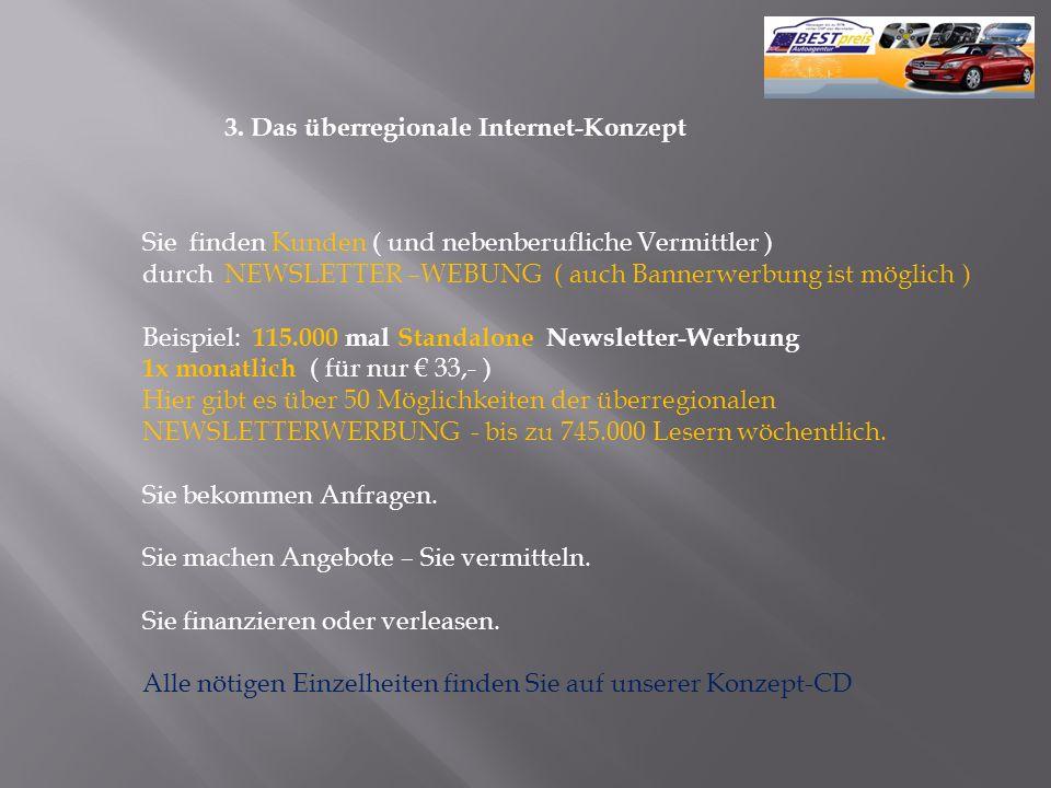 3. Das überregionale Internet-Konzept Sie finden Kunden ( und nebenberufliche Vermittler ) durch NEWSLETTER –WEBUNG ( auch Bannerwerbung ist möglich )