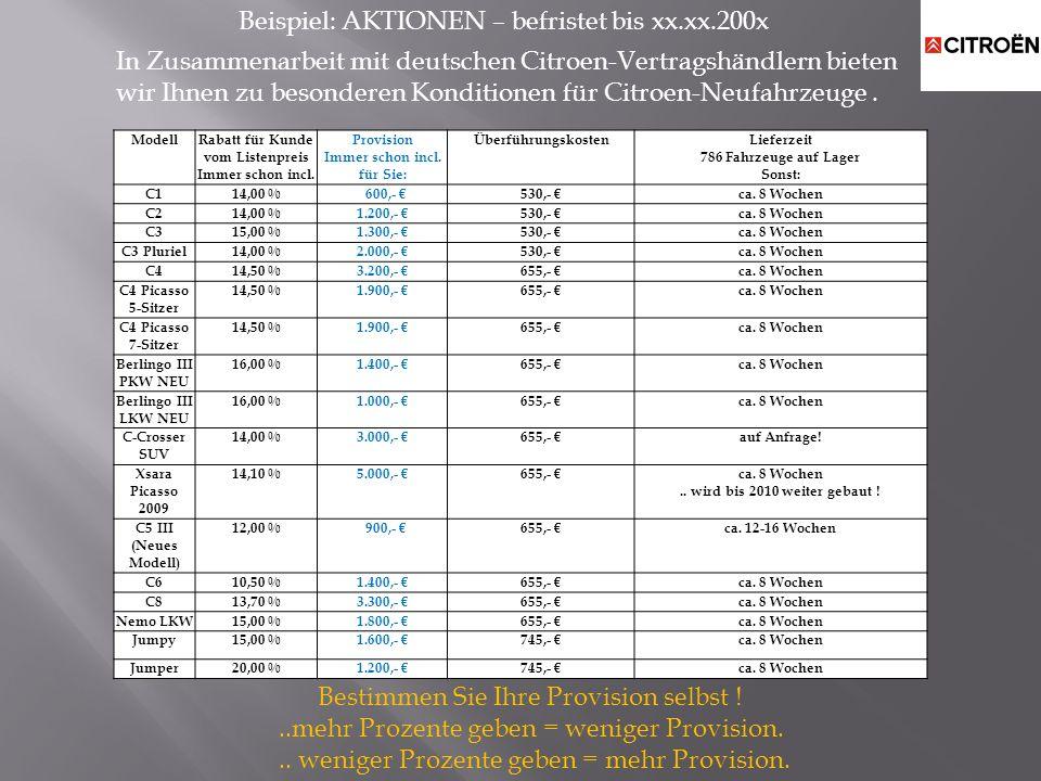 ModellRabatt für Kunde vom Listenpreis Immer schon incl. Provision Immer schon incl. für Sie: ÜberführungskostenLieferzeit 786 Fahrzeuge auf Lager Son