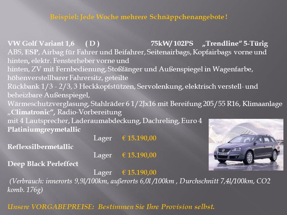 VW Golf Variant 1,6 ( D )75kW/ 102PS Trendline 5-Türig ABS, ESP, Airbag für Fahrer und Beifahrer, Seitenairbags, Kopfairbags vorne und hinten, elektr.