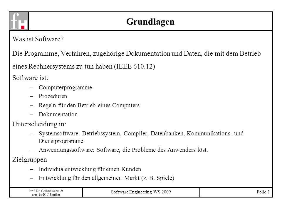 Prof. Dr. Gerhard Schmidt pres. by H.-J. Steffens Software Engineering WS 2009Folie 1 Grundlagen Was ist Software? Die Programme, Verfahren, zugehörig