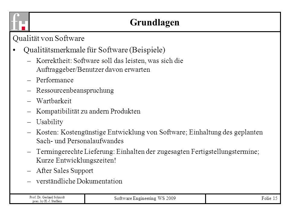 Prof. Dr. Gerhard Schmidt pres. by H.-J. Steffens Software Engineering WS 2009Folie 15 Grundlagen Qualität von Software Qualitätsmerkmale für Software