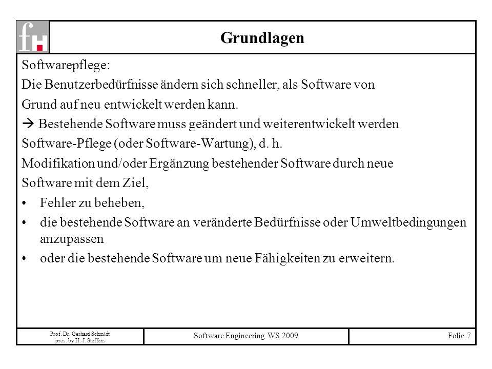 Prof. Dr. Gerhard Schmidt pres. by H.-J. Steffens Software Engineering WS 2009Folie 7 Grundlagen Softwarepflege: Die Benutzerbedürfnisse ändern sich s