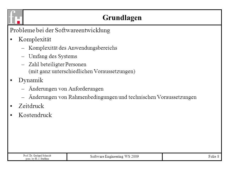 Prof. Dr. Gerhard Schmidt pres. by H.-J. Steffens Software Engineering WS 2009Folie 8 Grundlagen Probleme bei der Softwareentwicklung Komplexität –Kom
