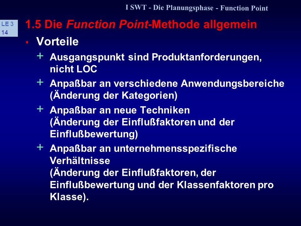I SWT - Die Planungsphase - Function Point LE 3 13 1.5 Die Function Point-Methode allgemein s Voraussetzungen Die Methode wird erst eingesetzt, wenn d